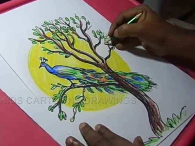 How To Draw Peacock With Tree Color Drawing For Kids Video Dailymotion