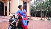 Superman fake motorbike SH Hot Girl Batman Love Spiderman Frozen Elsa in school Superheroes fun