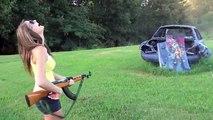 Kadın Tüfek Atışı ak47 kalaşnikof keleş av tüfeği tabanca 2017