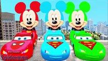 Comptines Bébé - Dessin animé francais 4 voitures colorées Mcqueen & Mickey Mouse. Vidéo éducatif