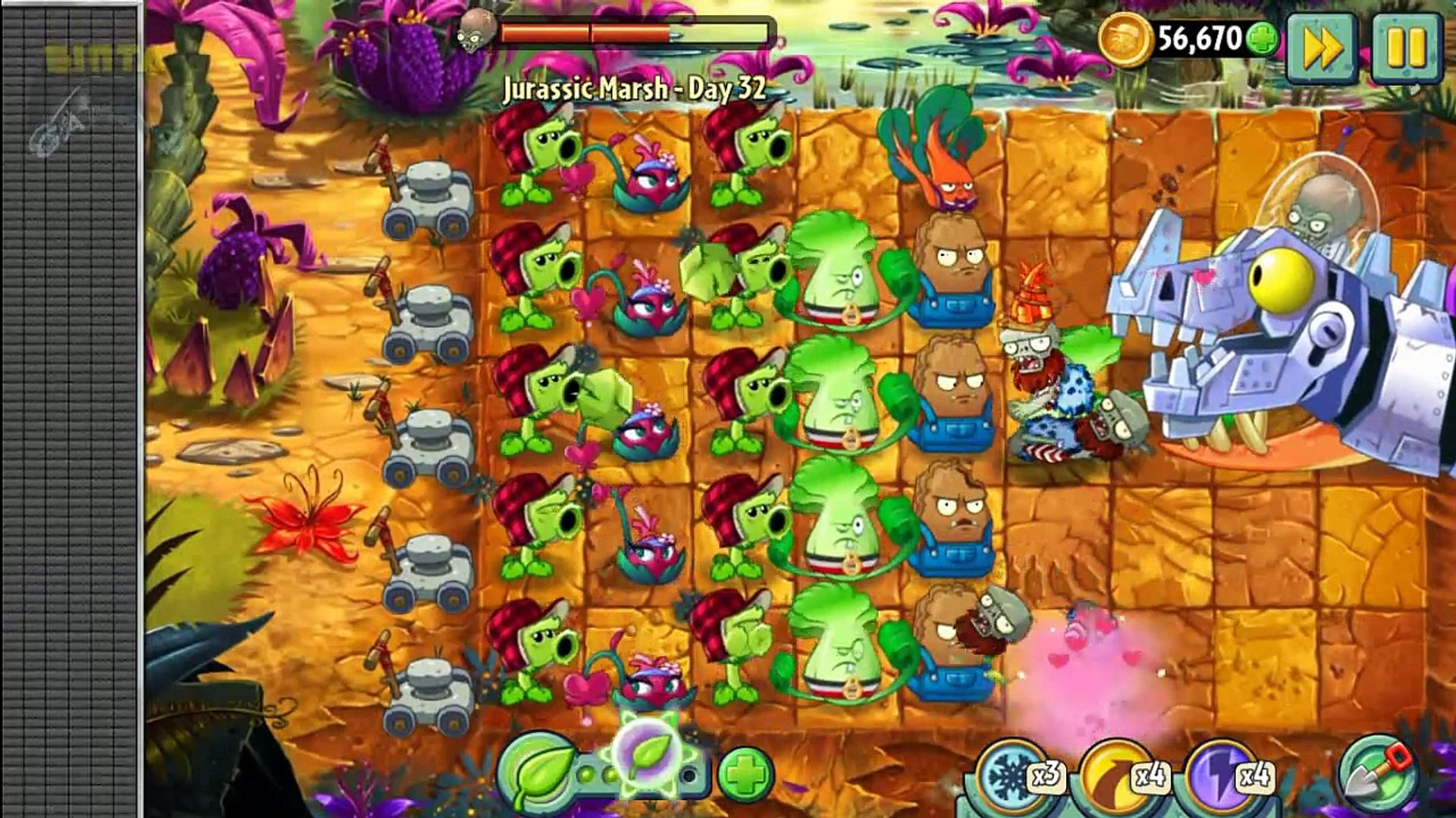 2. эпический мотыга сердце юра марш растения против зомби цветущие zombot dinotronic mechasa