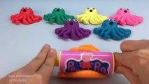 #2 Glitter Play Doh Cara de Sorpresa de Pulpo con Animales marinos Moldes Creativas y Divertidas para los Niños