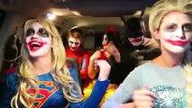 Супергерой Танцы Автомобилей! Джокер Путаница! Замороженные elsa и Человек-Паук стали супергерл Джокер и битой