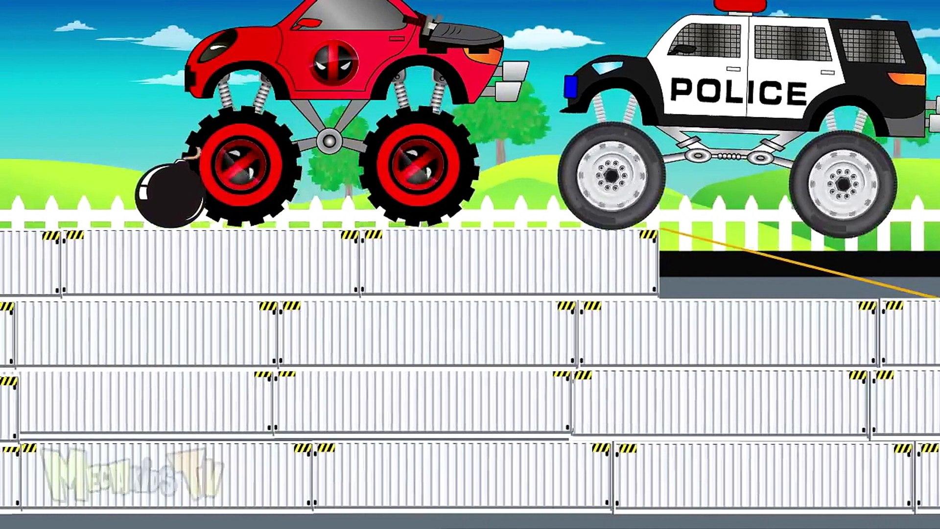 Police Truck Vs Batman - Monster Trucks For Kids - Mega Kids Tv