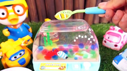 Pororo Superwings with 'Fish tank Toy' Children's Playground 꼬물꼬물 꾸러기 물고기네집 어항 장난감과 로보카폴리 슈퍼윙스 친구들