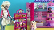 Grocery Shopping! Elsa & Anna kids shop at Barbie's Grocery