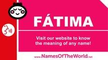 How to pronounce FATIMA in Spanish? - Names Pronunciation - www.namesoftheworld.net