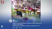 Présidentielle : Macron joue au prof pour expliquer la différence entre la gauche et la droite