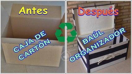 Cómo reciclar una caja de cartón en un baúl organizador
