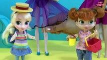 BEACH! Sandcastles  Ice cream! Elsa & Anna at th