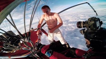 Cet homme saute d'une montgolfière sans avoir de parachute...