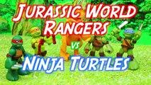 Jurassic World Dino Tractor Captures a Raptor Dinosaur and the Teenage Mutant Ninja Turtle