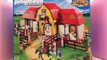 Construction écurie Playmobil français – Ecurie, enclos et portes avec des arbres et des f