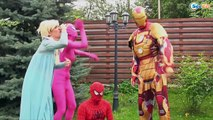 Disney Princess Food Fight!! Bad baby vs pumpkins Frozen Elsa and Spiderman and pink spide