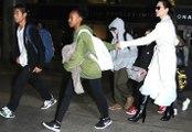 Angelina Jolie And Kids Land At LAX