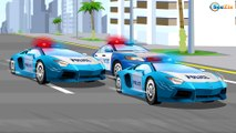 Learn Vehicles The POLICE CAR Racing w BAD CARS - Emergency Cars - Cars & Truck Cartoon
