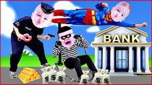COPS and ROBBERS Crying Babies SUPERMAN CATCHES BAD BABY BANK ROBBER Superheroes in Real Life-JGdkSEkx