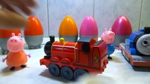 Peppa pig family travelling by Thomas and Friends train, with Thomas and James