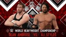 WWE 2K17 AJ Styles Vs Dean Ambrose WWE World Heavyweight Championship TLC Match