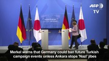 Merkel says Germany could ban Turkish campaign events
