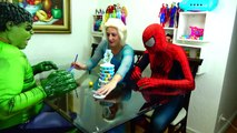 Spiderman Cooking Big Mac with Frozen Elsa & Hulk - Fun Superheroes Movie In Real Life-XYBwSa