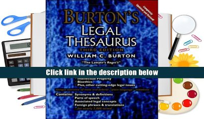 burtons legal thesaurus 5th edition over 10000 synonyms terms and expressions specifically related to the legal profession burton william