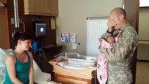 Le soldat arrive à l'hôpital le lendemain de la naissance de sa fille