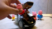 Black Dog Police Car with Peppa Pig Family! Super Transformers Police car from Police Stat