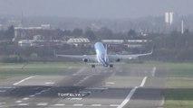 Avions en pleine tempête sur cet aéroport : décollages et atterrissages violents !