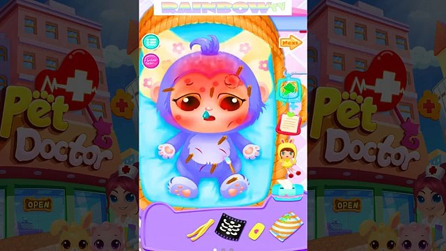 Pets need your help. Care of Pets: Kitten, Puppy, Rabbit, Turtle. Kids Game app