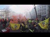 Flames of protest in 360: Firefighters take to Paris streets for anti-austerity rally