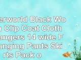 Hangerworld Black Wooden Clip Coat Clothes Hangers  14 wide  For Hanging Pants  Skirts