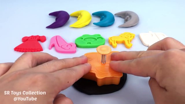 Play-Doh Moons with Assorted Cookie Cutters Learn Colors f