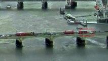 شاهد : شخص يلقي بنفسه من أعلى جسر تفاديا لسيارة منفذ هجوم لندن