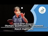 2016 Oceania Olympic Qualification Highlights: Sally Yee  vs Grace Yee