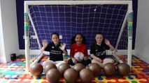 BASHING 10 Giant Surprise Chocolate Footballs - Football Challenges - Kinder Surprise Eggs Opening-GUIiuK7De