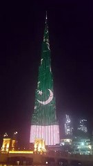 Pakistani Flag Video on Dubai Burj Al Khalifa 23 March