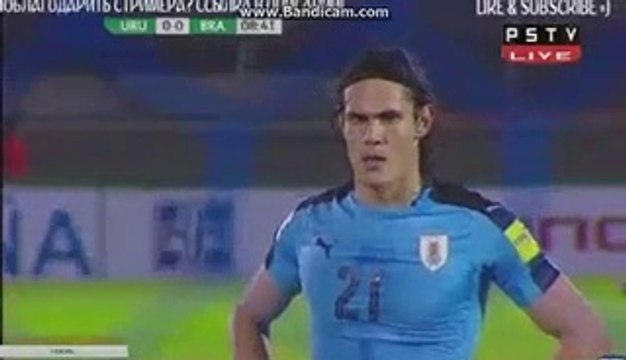 1-0 Edinson Cavani Penalty Goal HD - Uruguay vs Brazil 24.03.2017 HD