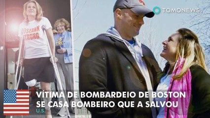Vítima de bombardeio de boston se casa Bombeiro que a salvou.