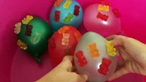 Mega Gummy Bear Balloons Finger Family Learn Colors for Children Nursery Rhymes Kids Songs