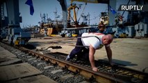 Russian Strongman Pulls 312 Ton Port Crane 5 Feet