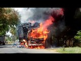Fire accident. lorry got fired in salem