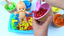 Maxi Kinder Surprise Eggs Learn Colors M&Ms Candy Baby Doll Bath Time