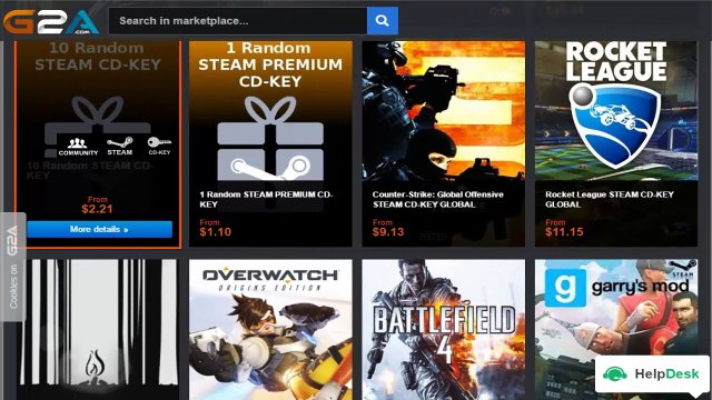 CD keys of games and softwares from g2a and free games to play