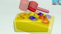 Apprenez les couleurs avec des boules brillantes et marteau boîte à jouets marteler maillet animation apprendre l'anglais