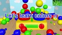 Apprenez les couleurs de la cuisine de jouets de cuisson des boules de couleurs brillantes d'animation pour les enfants