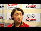 ドイツオープン・石垣優香世界ランキング4位の馮天薇(SIN)を破ってのインタビュー