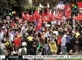Chilenos consideran exitosa la marcha contra el sistema de pensiones