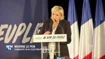 """En meeting, Marine Le Pen tacle François Fillon et sa """"mine de première communion"""""""