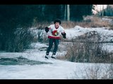 Man Ice Skates on a Frozen Ditch in Ontario